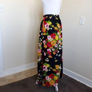 Vintage1970's hippie floral floor length skirt